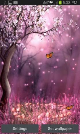Скриншот обои лес сакуры