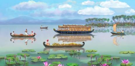 Poster Обои Каникулы мечты — Cheerful Boats
