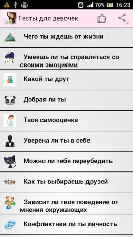 Скриншот Тесты для девочек