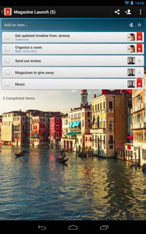 Скриншот Wunderlist: списки текущих дел