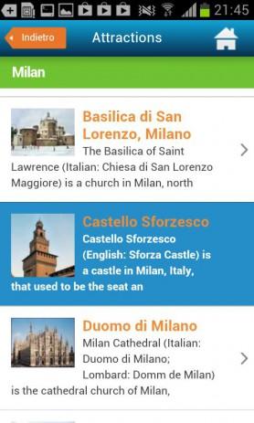 Скриншот Милан гид отели погода карта