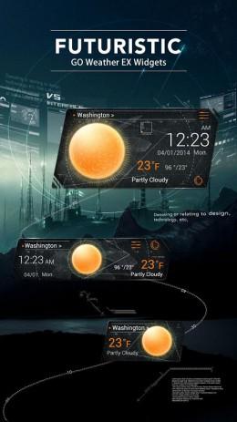 Скриншот Futuristic Theme GO Weather EX