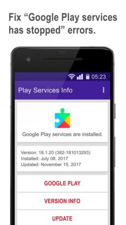 Скриншот Play services update & info