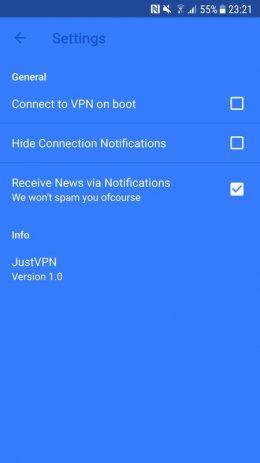 Скриншот JustVPN 6