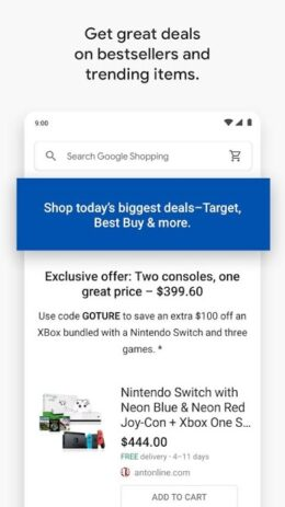 Скриншот Google Shopping: Discover, compare prices & buy 2